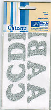Iron On SILVER Glitter Letters Birch 1 x Pack 40 Pieces Transfer to Fabric