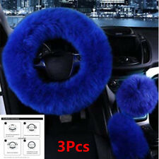 Car Steering Wheel Cover Mature Gem Blue 3Pcs Fur Wool Furry Fluffy Thick Winter