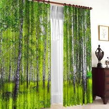 2er Set Gardinen 3D Fotodruck Vorhang - Birkenwald, Gabardine, 145 х 270 cm,