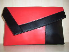 OVER SIZED COLOR BLOCK RED & BLACK Faux leather clutch. made in the UK