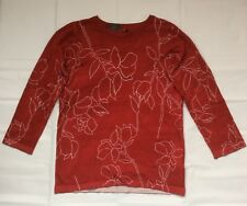 LADIES RED ABSTRACT FLORAL  KNITWEAR TOP SIZE 10