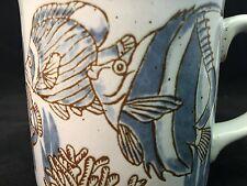 Stoneware Coffee Tea Mug Cup Angelfish Flatfish Coral Sea Life Muted Blue Brown
