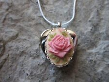 TITANIUM STEEL HEART SHAPED PINK ROSE ON TAN CAMEO URN NECKLACE - ASHES