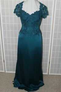 NWT Jade Couture K188055 TEAL size 8 long formal evening gown, lightly beaded