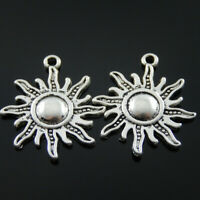 25 pcs Alloy Vintage Silver Charm Sun Shape Craft Pendant Jewelry Findings 23mm