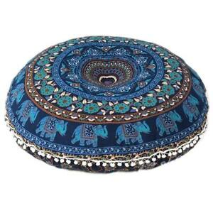 Indian Mandala Meditation Pillow Cover Ottoman Cover Pouf Cover Bohemian Cushion
