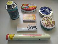Assorted Collectible Small Tins Lot Of 7 - mints & candies, badger, syrup, bath