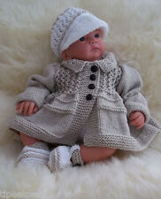 Baby Knitting Pattern Boys or Reborn Dolls TO KNIT Tommy' Coat Peaked Cap Shoes