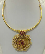 South Indian Traditional Jewellery gold  pearl new design necklace set earring