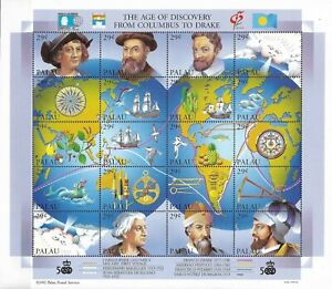 """PALAU - 1992 MNH """"The Age Of Discovery From COLUMBUS To DRAKE"""" Souvenir Sheet !!"""