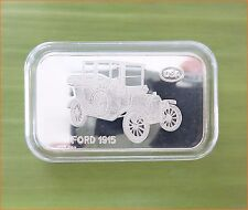 "RARE ! 1 oz .999 Switzerland Silver Bar""FORD 1915 ANTIQUE CAR COLLECTION"" C70"