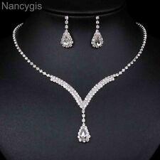 Full Rhinestone Curved V Teardrop Necklace and Earrings Wedding Jewellery Set