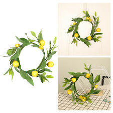14 inch Fruit Wreath Artificial Lemons Decorative Garland for Front Door, Wall,