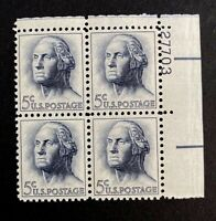 US Stamps, Scott #1213 5c Plate Block of George Washington 1962 XF M/NH Fresh