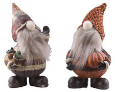 Set of Two 5 Inch Tall Autumn Gnome Figurines w/ Fuzzy Beards & Fabric Hats