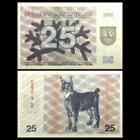 25 Talonas 36b Pick 36 1991 UNC /> Lynx Lithuania