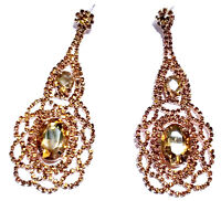 Chandelier Earrings Rhinestone Crystal 3.4 inch Topaz