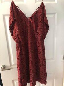 NEW SALE! About You Dress Burgundy Skater Lace Dress Size EU42