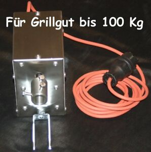 Grillmotor bis 100Kg Grillgut 2,1 U/ Min im Edelstahlgehäuse > 30Nm Mit Silikonk