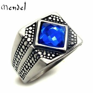 MENDEL Mens Stainless Steel Blue Faux Tanzanite Stone Ring For Men Size 7 8 9-15
