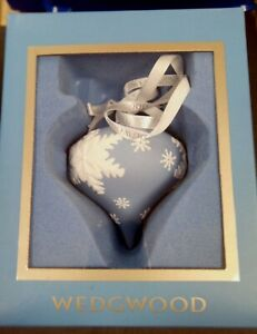 Wedgwood Embossed Snowflake Onion Blue Ornament (Boxed)