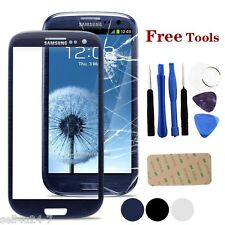 Blue Samsung Galaxy S3 Mini i8190 Front Outer Lens Glass Touch Screen + Tools