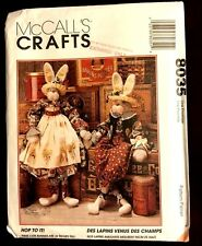 """HOP TO IT !! 34"""" Primitive  BUNNY DOLLS & CLOTHES Rabbit Sewing Pattern 8035"""