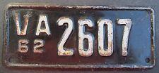 Virginia 1962 MOTORCYCLE License Plate # 2607