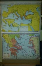 VINTAGE Pull Down School Map -  Ancient Greece Phoenician Colonies and Commerce