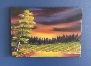 Oil On Canvas Painting Landscape Sunset