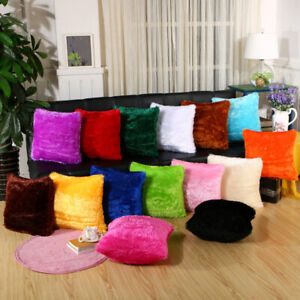 Pack of 1 Long Pile Soft Shaggy Faux Fur Cushion Covers Plain Fluffy Pillow Case