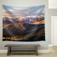 Wall26® - Clouds Over Mountains Filled with Pine Trees - Fabric Tapestry- 68x80