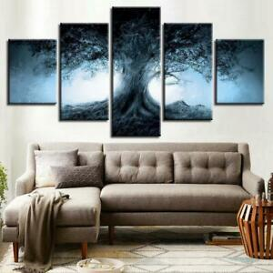 Dark Forest Magical Tree 5 Piece Canvas Art Wall Art Picture Painting Home Decor