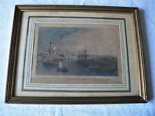 Rare gravure ancienne de T. Allom, Stockton on Tees,  en couleur- 1835, encadrée
