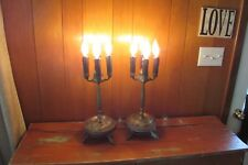Pair of Antique Solid Brass Candelabra Decorative Table Lamps #1765Lr