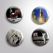4  APOLLO 11 MOON SPACEFLIGHT FIRST STEP 1969 - Pinbacks Badge Button 25mm 1''