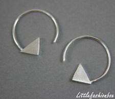 Women's 925 Sterling Silver Half Hoop Triangle Simple Fine Earring UK 1.18g