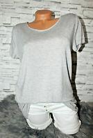 Italy Long T-Shirt Vintage Gr. 36 38 40 Shirt Puder grau blogger weich