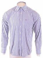 TOMMY HILFIGER Mens Shirt Medium Blue Striped Cotton  NT10