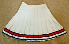 Authentic Real Highschool CDT Pleated Cheer Cheerleading Skirt White Blue Orange