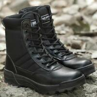 Mens Military Work Boots Tactical Side Zipper Lace Up Boots Outdoor Shoes Combat