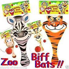 4 x Wooden Biff Bat & Ball game - Zoo - Tiger Monkey Zebra Giraffee Party Filler