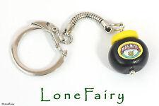 Polymer Clay Marmite Jar Keyring Food Jewellery kitsch Retro Key Chain Black