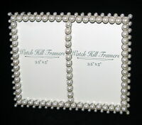 Vintage Double Picture Frame Watch Hill Framers Faux Pearls Beads Tabletop Stand
