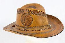 Vintage Leather Cowboy Hat Cap Hand Machine Tooled Brown