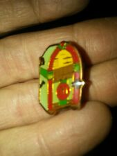 Radio jukebox McDonald's crew lapel hat pin M with music notes bright colors