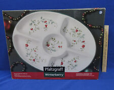 Pfaltzgraff Winterberry Server Serving Tray Platter Oval 5 Section Christmas