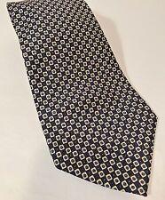 Polo Ralph Lauren Silk Tie Navy & White Square Dots Micro Print Made in USA  EUC