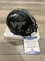 Michael Vick Virginia Tech Signed Black Brick Speed Mini Helmet Beckett