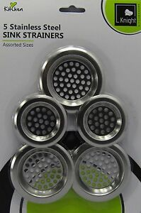 5 Pieces Stainless Steel Sink Strainers Assorted Sizes